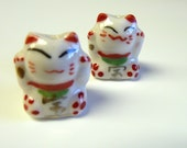 Lucky  Happy Red Cats Beads