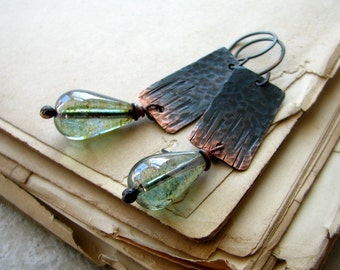 Copper earrings, hammered metal, glass beads, forest green, rustic, tree bark - Below the Canopy