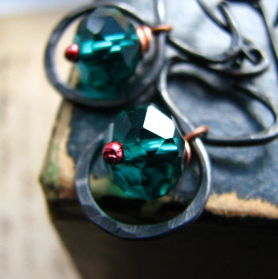 Rustic earrings handcrafted hammered copper and crystal teal green - Riverbend