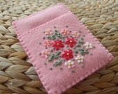 Pretty Pink Felt Hand Embroidered Card Case