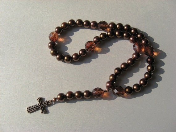 Lutheran Prayer Beads Brown Beads with Antique Copper Finish Cross