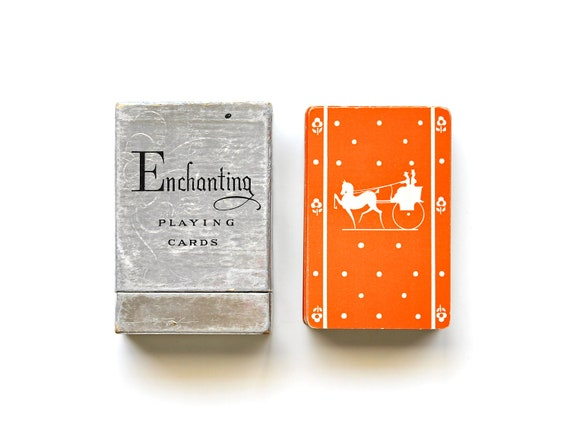 A Halloween Carriage - Vintage Linen Playing Cards - Vintage Silhouette Cards
