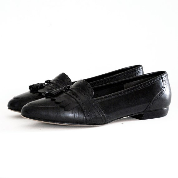 Black Leather Almond Toe Fringe & Tassel Loafers 7. Made In Brazil.