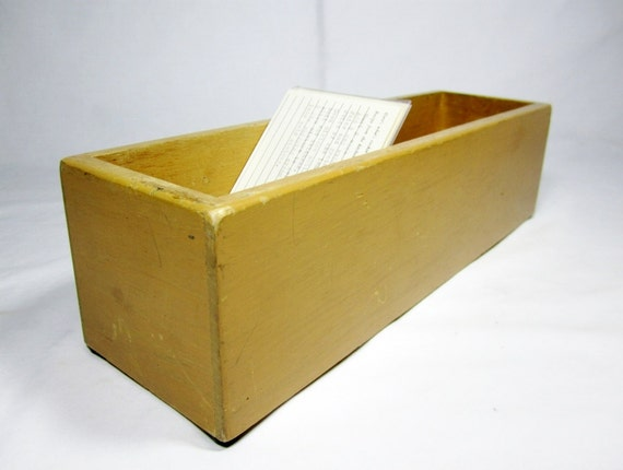 LIBRARY CARD File DRAWER / Wooden Index Card Catalog Box / Vintage