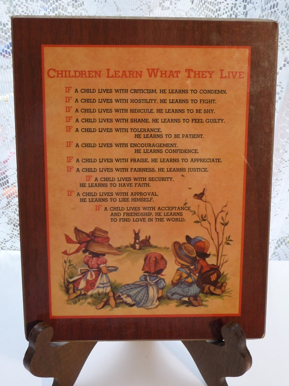 Vintage Living Quotes Plaque Children Learn What They Live