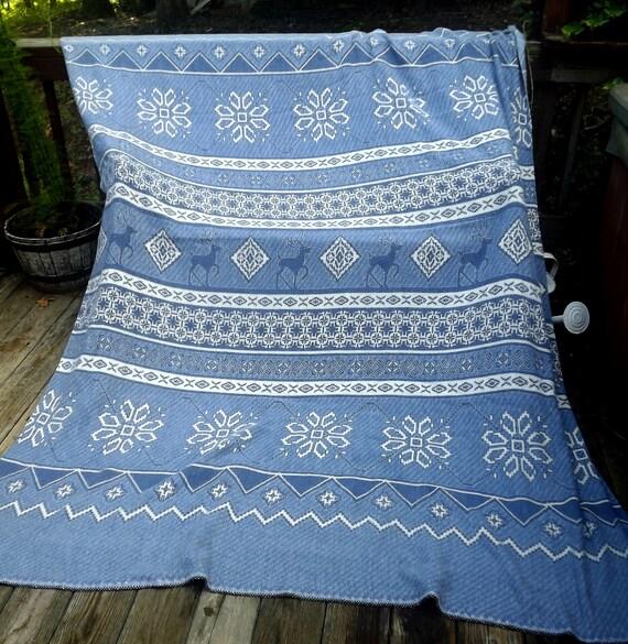 Vintage Camp Blanket Cotton Large Size 97x74