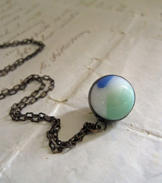 Blue and Green Vintage Marble Necklace