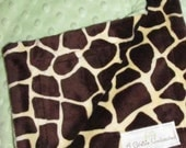 Soft green dot and giraffe print minky baby blanket