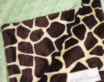 Soft green dot and giraffe print minky baby blanket