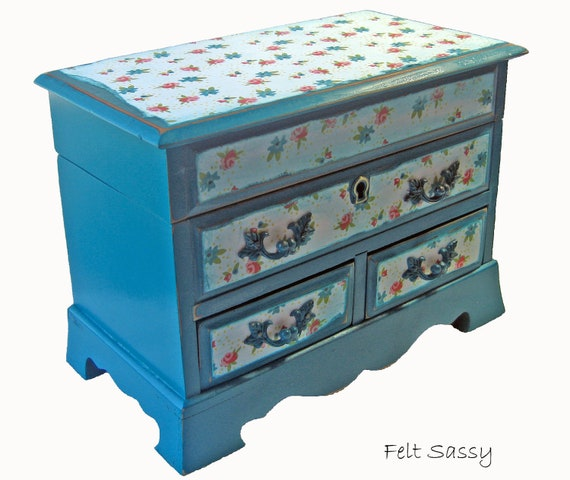 Refurbished Jewelry Box Medium - Teal Garden - by FeltSassy