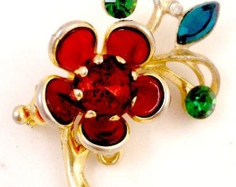 Red Crystal Vintage Flower Pin