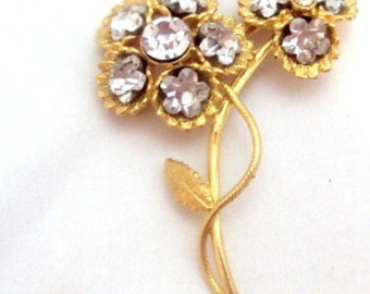 Sparkling Flower Rhinestone Pin