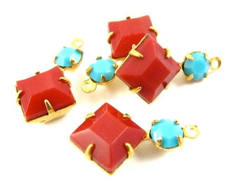 2 - Square Vintage Glass Dangles 1 Ring Set Stones Brass Prong Settings Red & Turquoise 18x11mm