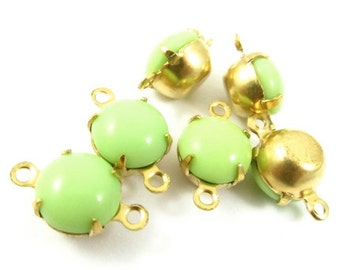 6 - Vintage Glass Round Stones in 2 Rings Closed Back Brass Prong Setting - Opaque Light Green - 8mm