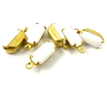 Vintage Glass Octagon Stones 2 Rings 1 Ring Closed Back Brass Prong Settings 10x5mm Chalk White - 6
