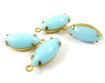 4 - Vintage Glass Navette Stones in 1 Ring Closed Back Brass Prong Settings - Opaque Turquoise - 15x7mm