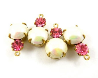 2 - Vintage Glass Round Stones in 1 Ring 2 Stones Brass Prong Settings - Creamy Pearl & Rose Pink - 15x9mm
