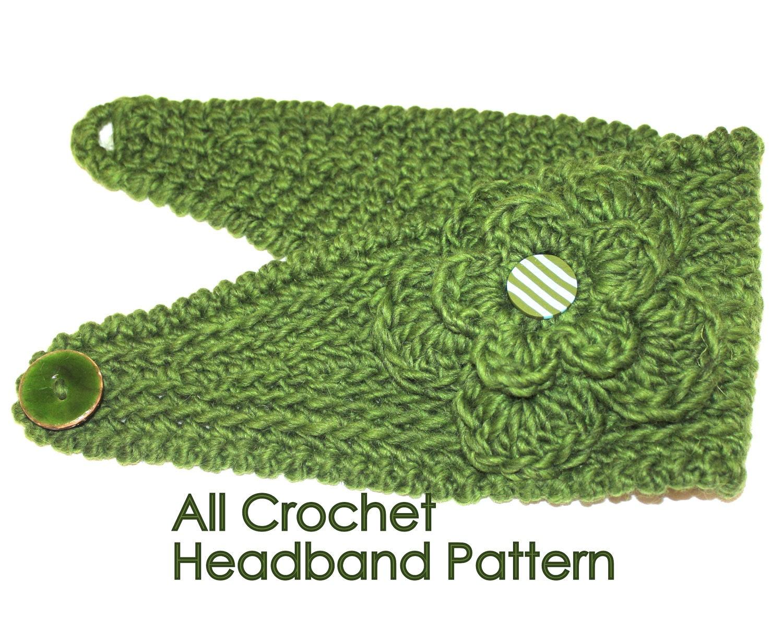 Free Knitting Patterns Headbands Buttons : PATTERN Fast Crochet Headband Kayla Bulky Weight Yarn Two