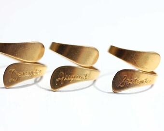 Month Ring, Brass Twist Ring, Brass Ring, Birthday Ring, Birth Month Ring