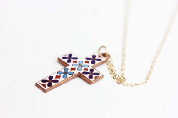 Sample Sale - Enamel Cross Necklace
