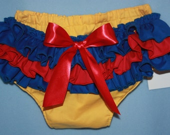 Yellow, red, blue Sassy Fancy Ruffle Panty, Sweet Ruffle Pants, Ruffle Bloomers, Fancy Pants, Handmade Sassy Britches Photo Prop