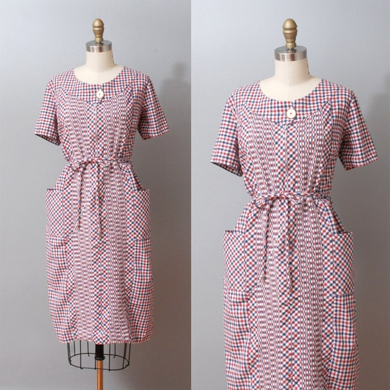 1960s Dress - Red and Blue Plaid Pintuck Day Dress