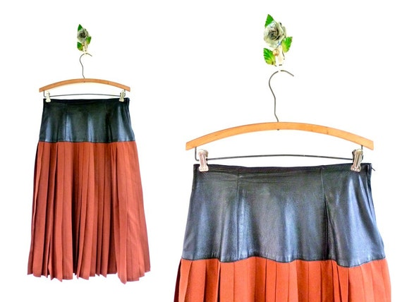 Vintage Drop Waist Leather & Wool Pleated Midi Skirt by Simon Chang // Waist 28""