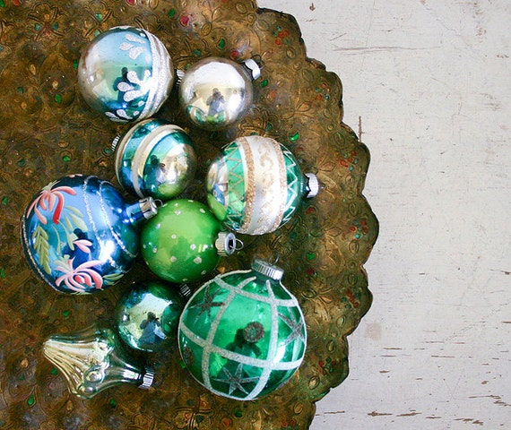 Vintage Christmas Ornaments - Blue and Green Mercury Glass Mixed Lot