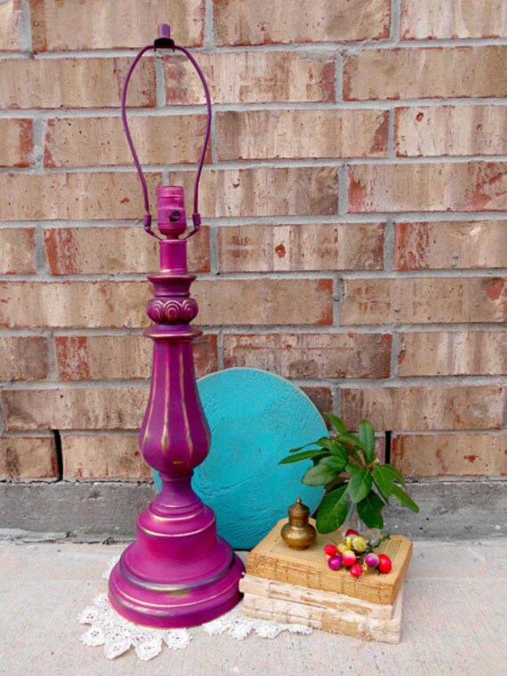 Vintage - Upcycled - Marvelous Magenta - Architectural Brass Lamp - French Country - Boho Chic