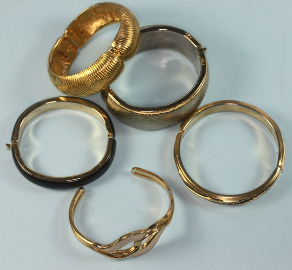 Vintage Five Bracelet Lot Gold Tone Bangle Cuff Bracelet Enameled Destash