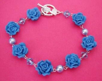 Blue Rose Toggle Bracelet