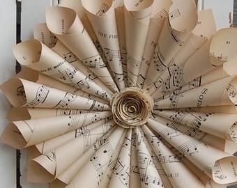 """Rustic Paper Wreath  / Vintage Sheet Music /  Vintage Wedding 12"""""""