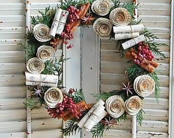 Holiday Wreath / Christmas Dried Flower Wreath / Winter Greens /