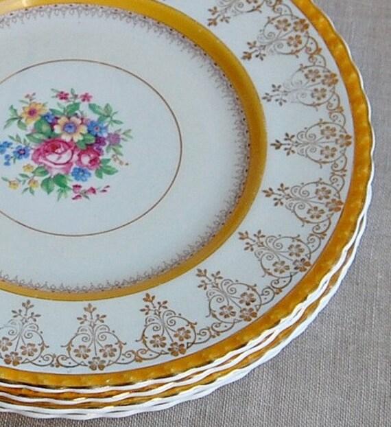 Vintage Staffordshire Plates Myott Set of Four