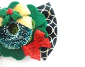 Felt Flower And Christmas Wreath Boutique Hair Clip