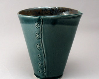 Ceramic Oval Flower Vase-Pottery Vase-Stoneware-Peacock Gloss Glaze-Bronze Glaze-Ready to Ship