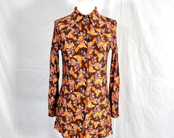 60s Vintage 70s Tunic Shirt with Birds and Flowers / Fluid Jersey Knit / Extra Small to Small