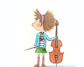 Girl With Cello and Bluebird  - The CELLIST - Fine Art Print