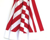 CHRISTMAS TREE SKIRT - 60 inches - Ready to Ship - Suess Stripe with White trim, ready to ship by speedpost, delivery in 4-5 days