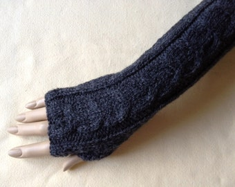 Knit to Order Fingerless Gloves Arm Wrist Warmers, Shale (dark grey), Luxury Hand Knitted Soft Merino Wool Extra Long  Mittens 17 Colours