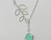 Silver Lariat Necklace - Silver Leaf Lariat - Aqua Lariat - Boho - Bohemian - Gift - Bridesmaid - Bridal - Flower Girl