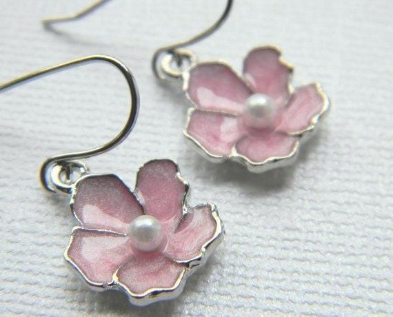 Pink Flower Earrings - Pink Sakura Earrings - Bridesmaid Earrings - Flower Girl - Gift - Valentine