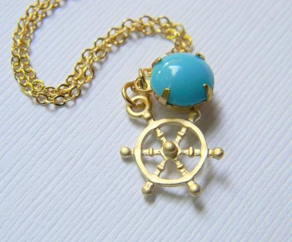 Gold Nautical Necklace - Gold Ship Wheel Necklace - Vintage Swarovski Crystal - Sky Blue Swarovski - Ocean - Gift