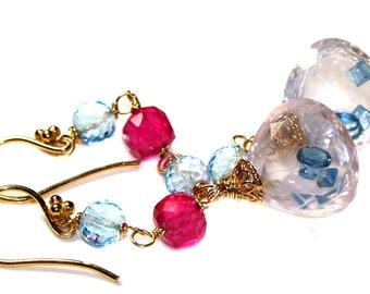 London Blue Topaz  Earrings, Rose Quartz Earrings, Sky Blue Topaz And Pink Topaz.