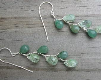 Agate Jade Earrings- Silver, Zig Zag Design with Gemstones