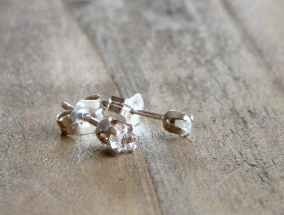 Baby Herkimer Diamond and Rough Diamond Stud Earrings Sterling Silver