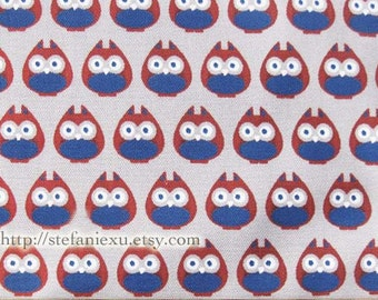 Owl Hoot Collection, Cute Red and Blue Owls On Light Grey-Japanese Light Canvas Fabric (Fat Quarter)