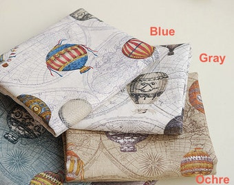 Unique Linen Collection-Vintage Traveling, Circus Hot Air Balloons (Fat Quarter)