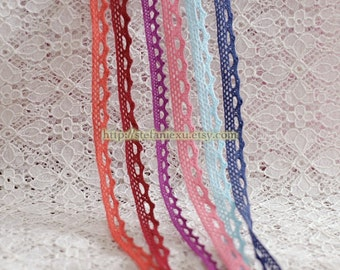 2 Yards Cotton Yarn Lace - Simple Style Lace, Choose Your Color (W1.2cm)