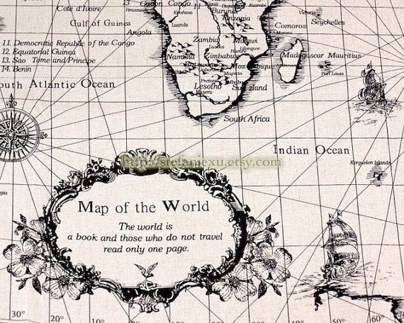 Home Decor Illust Linen-Vintage Looking World Map, Traveling Around The World (1 Cut, 29x55 inches)